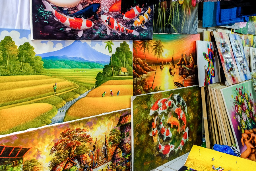 Traditional paintings for sale at the market in Ubud, Bali