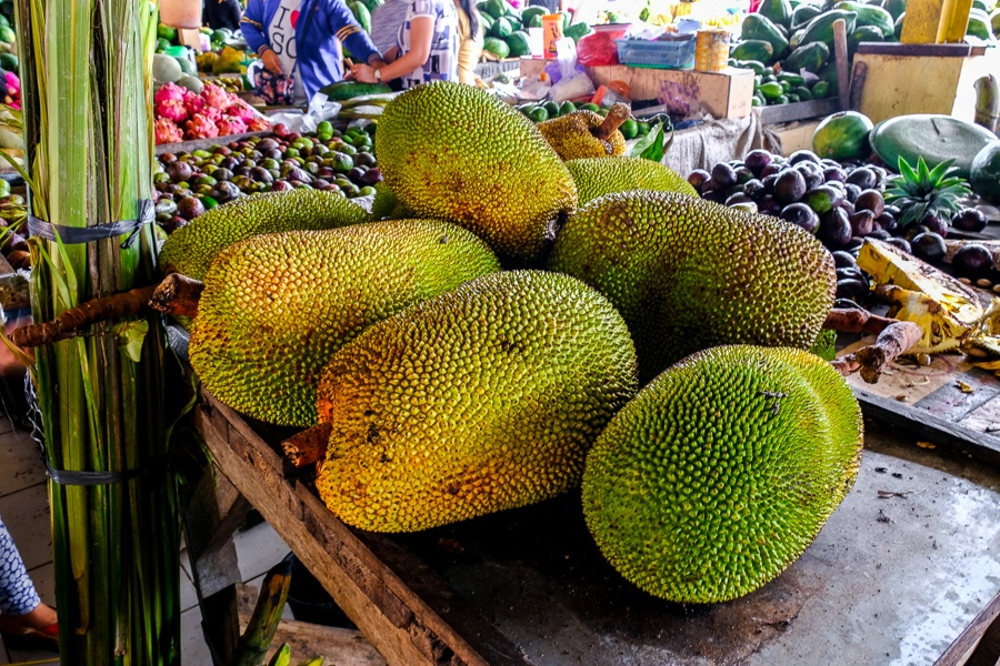 Giant jackfruit at the Tomohon market in Sulawesi, Indonesia