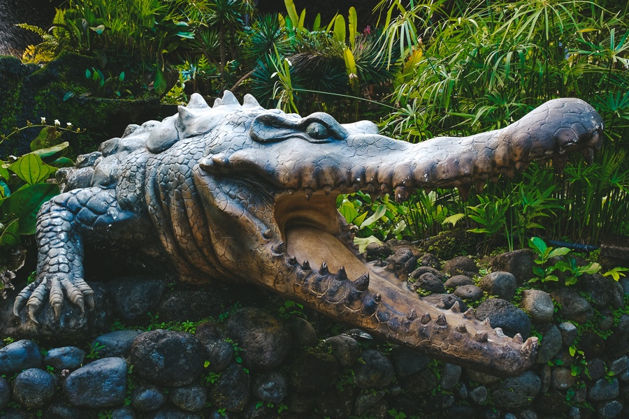 Scary looking alligator statue at the Bali Zoo