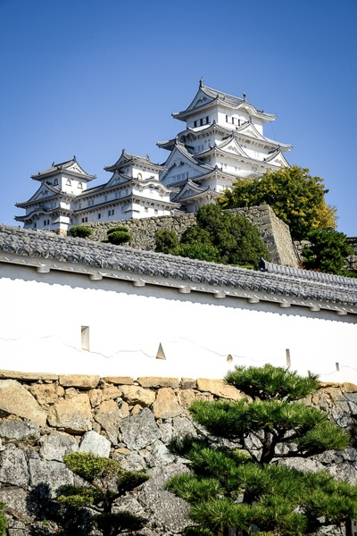 Distant view of Himeji Castle in Japan