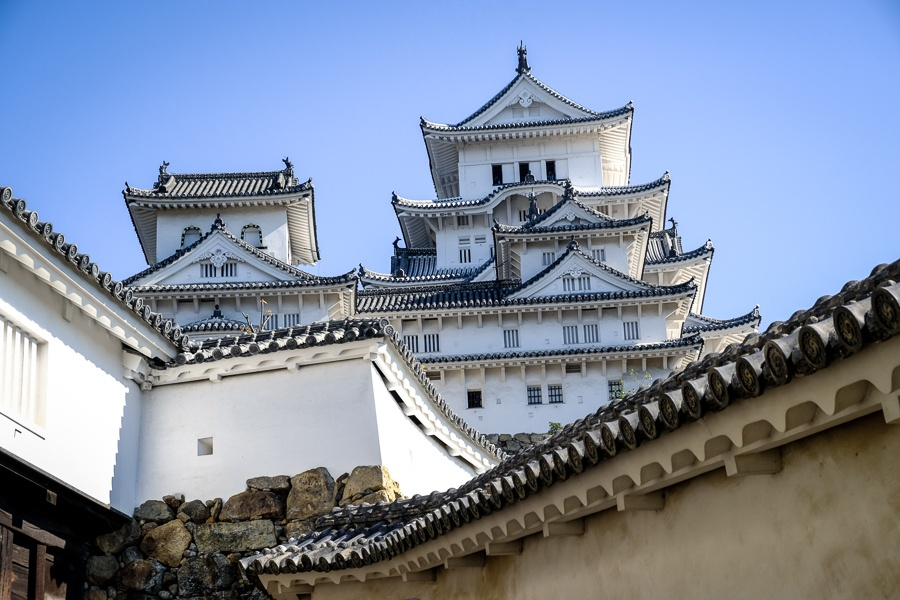 Himeji Castle in Japan rising above the white walls