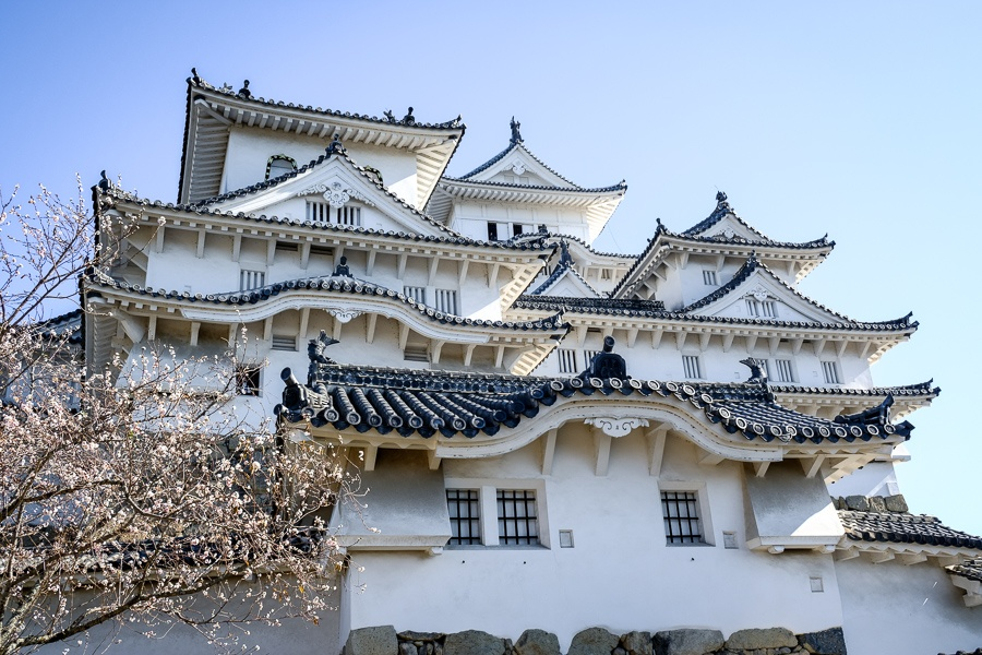 Graceful windows and rooftops of Himeji Castle in Japan