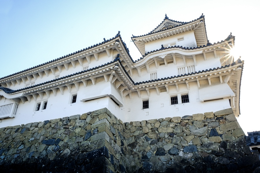 Sunrise on the rafters at Himeji Castle in Japan