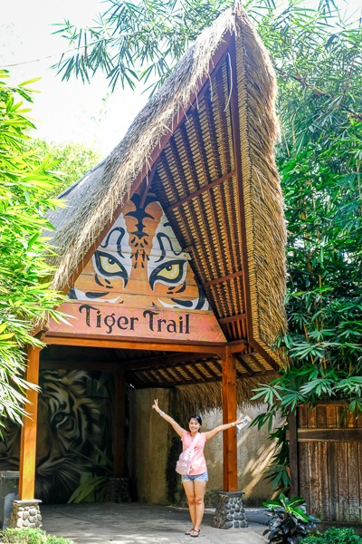 My woman standing at the entrance to the tiger exhibit in the Bali Zoo