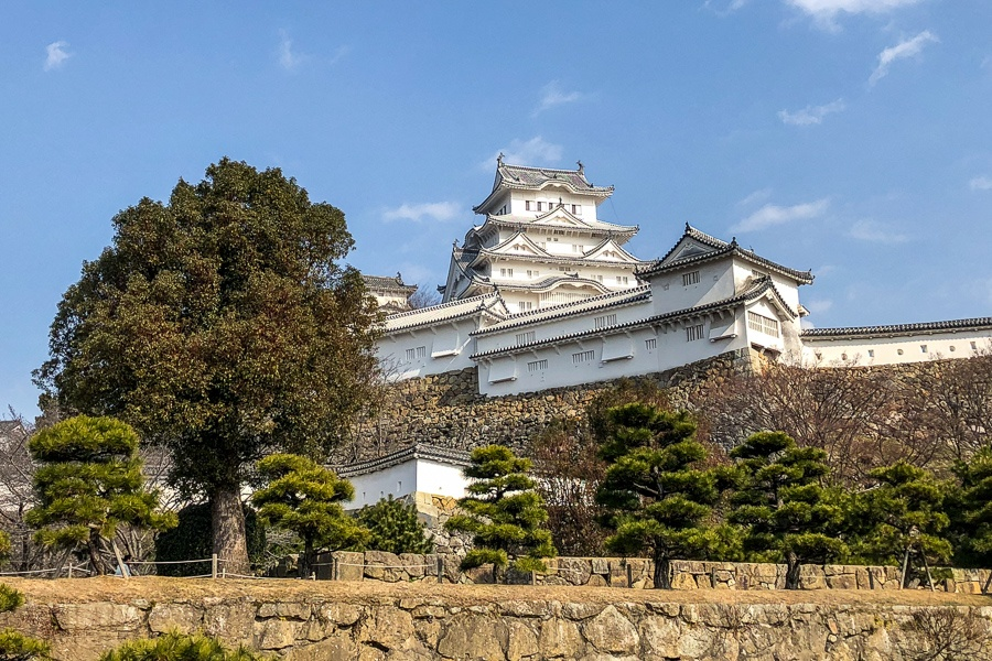 A courtyard and wall at Himeji Castle in Japan