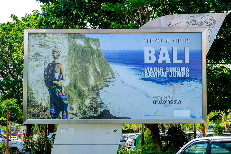 Farewell sign by the departure hall at the Bali airport