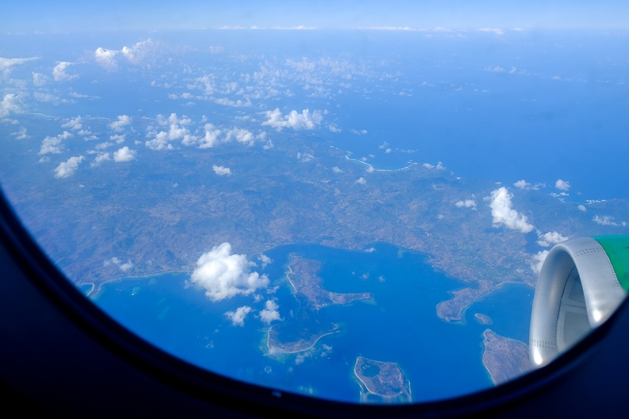 Plane window view while flying over East Timor