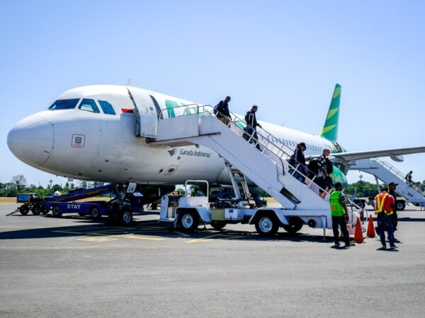 Passengers landing at the Dili airport in East Timor