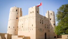 An Naman Castle and flag in Oman