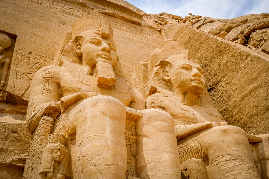 Giant twin pharaoh statues at Abu Simbel Temple in Egypt