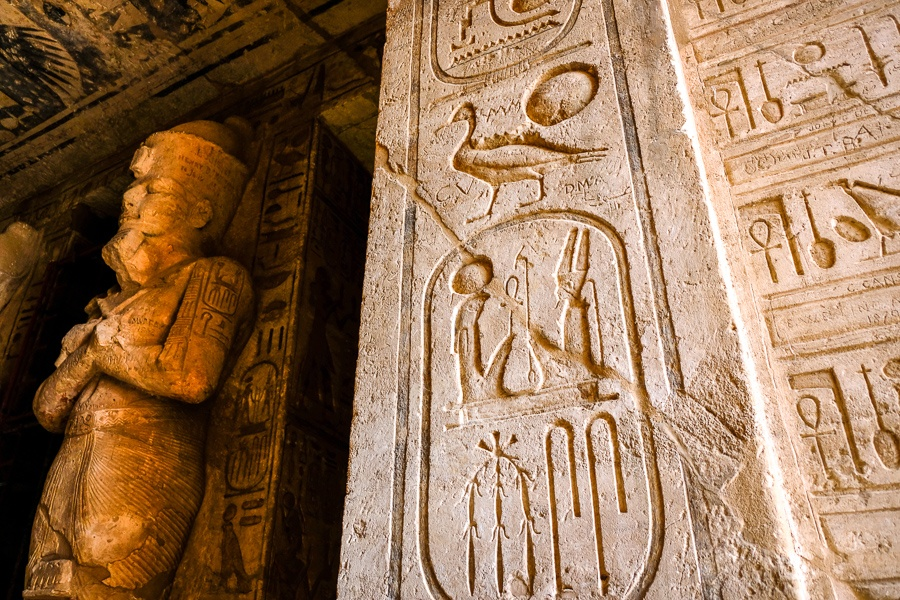 Hieroglyphs inside the tomb of Abu Simbel Temple in Egypt