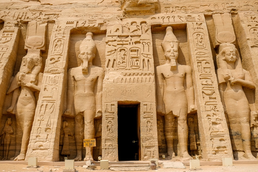 Doorway to the temple of the queen at Abu Simbel in Egypt