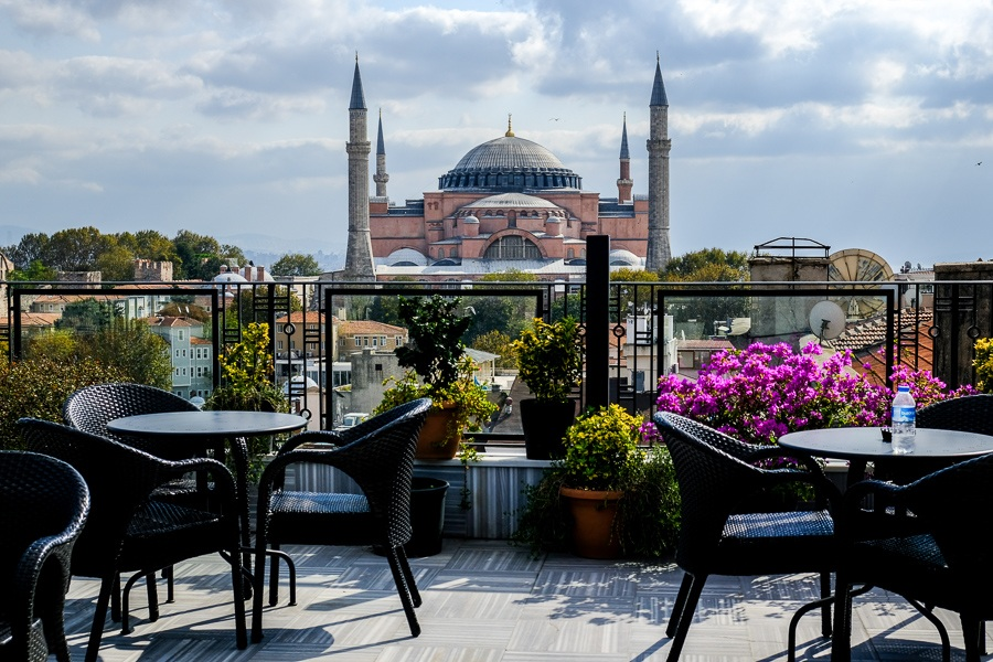 Rooftop hotel view of the Hagia Sophia in Istanbul