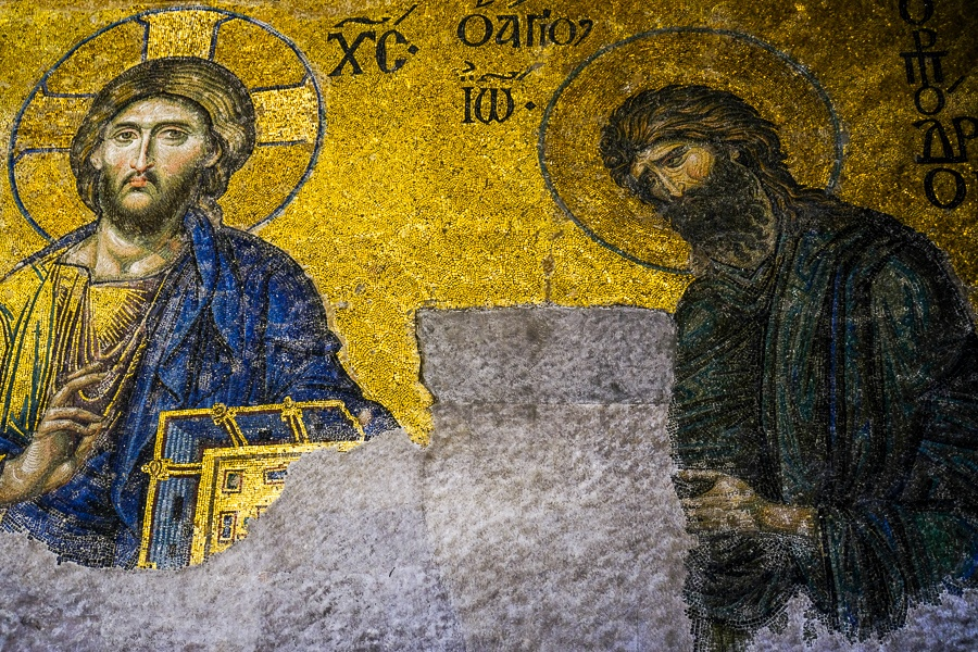 Old gold mosaic inside the Hagia Sophia in Istanbul
