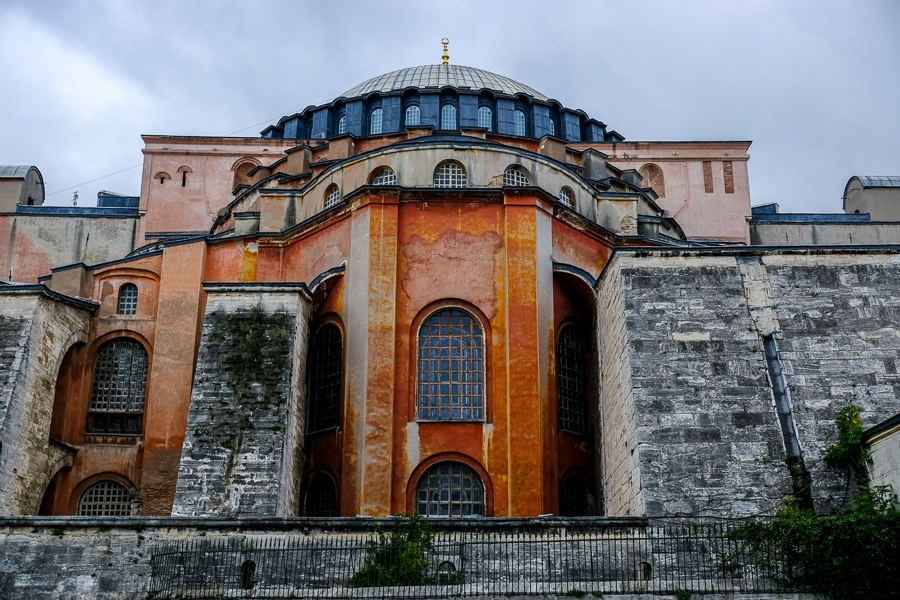 Outside walls of the Hagia Sophia in Istanbul