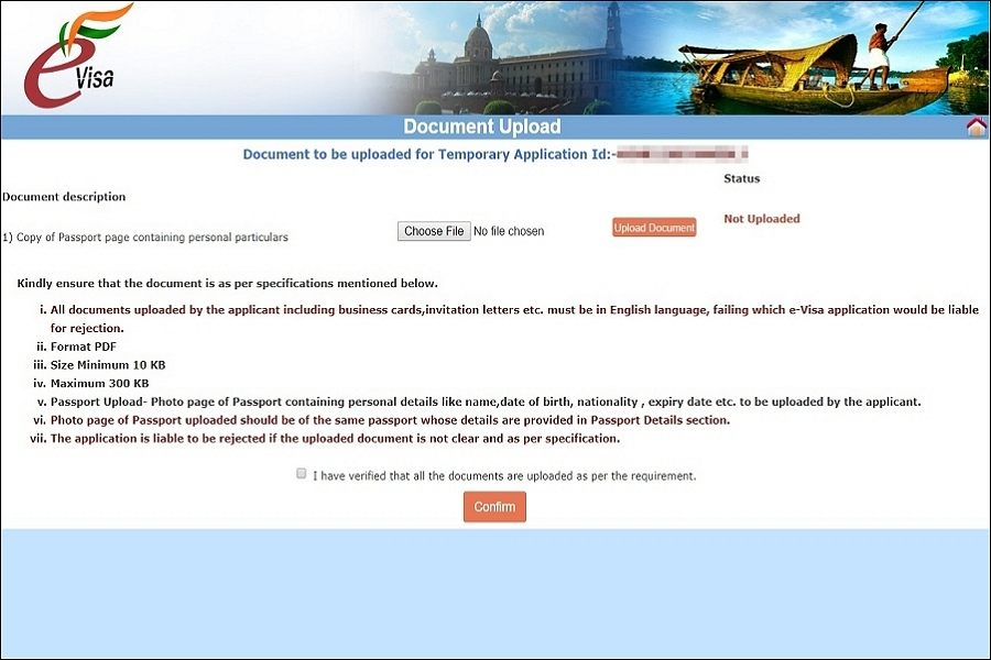 Application guide and steps on page 7 for Indian visa