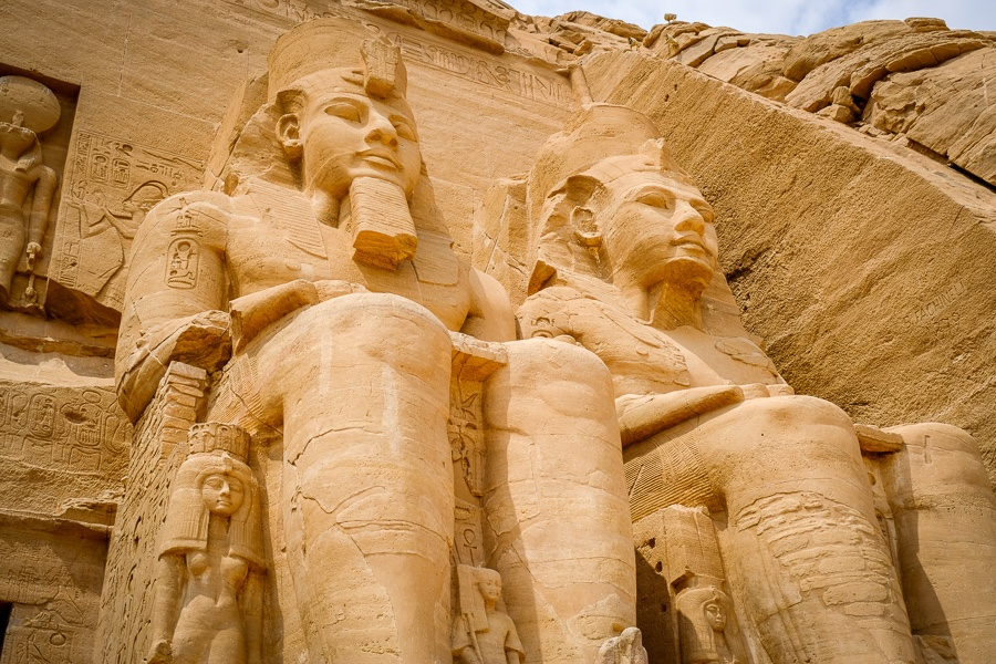 Giant pharaoh statues at Abu Simbel Temple in Egypt