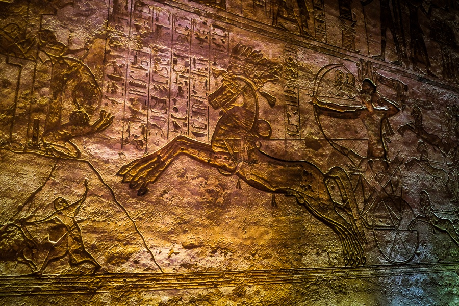 Chariot hieroglyphs inside the tomb of Abu Simbel Temple in Egypt