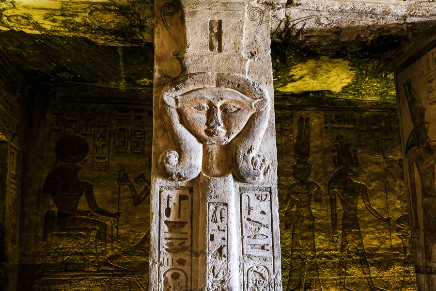 Pillar and carvings inside the temple of the queen at Abu Simbel in Egypt