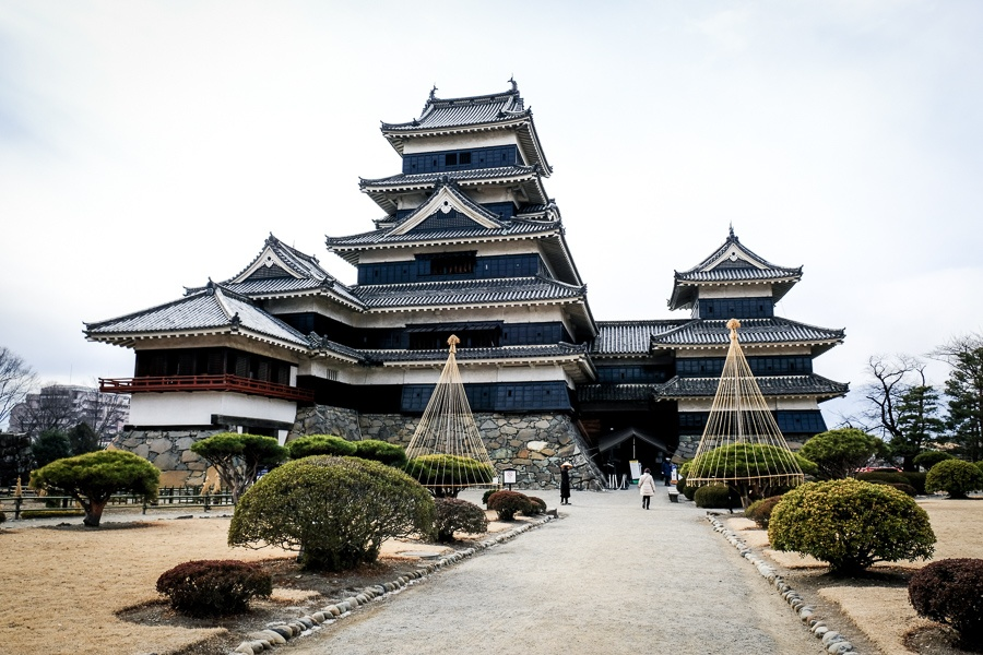 Courtyard and path at Matsumoto Castle in Japan