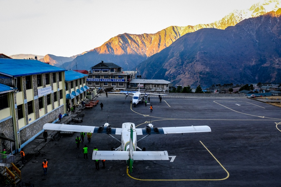 Planes at the Lukla airport on the EBC Trek in Nepal