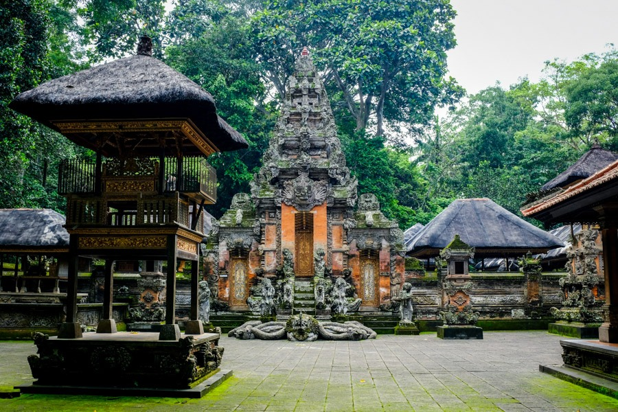 Old temple Pura Dalem Agung Padangtegal at the Ubud Monkey Forest in Bali