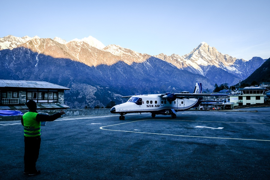 Airplane parked at Lukla airport on the EBC Trek in Nepal