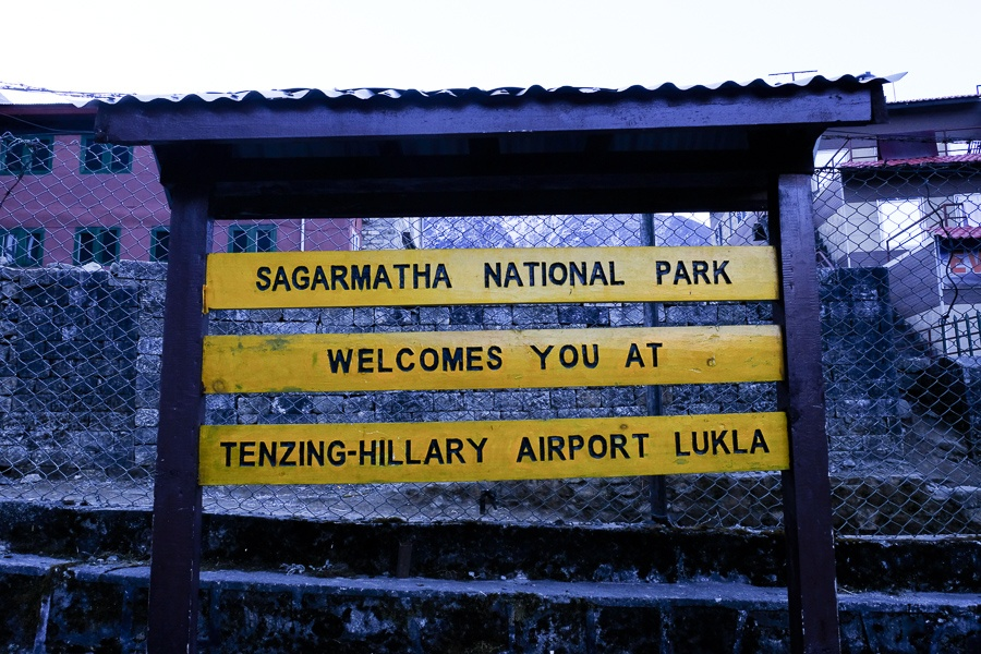 Sagarmatha National Park welcome sign at the Lukla airport on the EBC Trek in Nepal