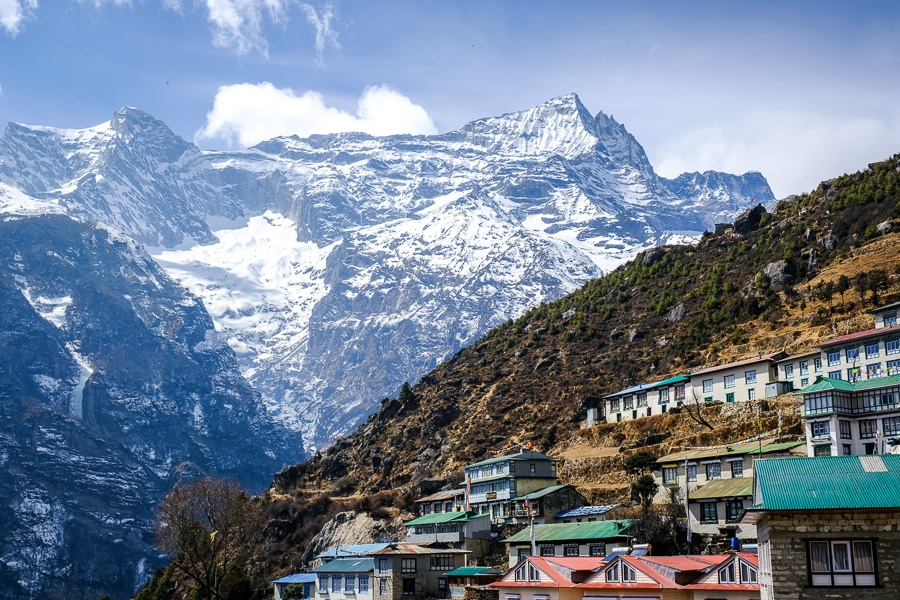 Houses and mountains at Namche Bazaar on the EBC Trek in Nepal