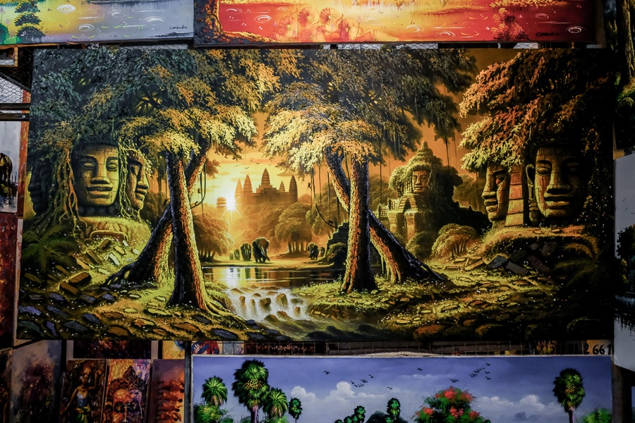 Painting for sale at the river market in Siem Reap Cambodia