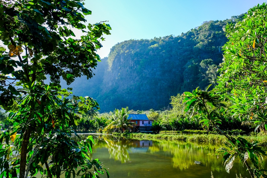 Traditional house at Rammang Rammang village in Sulawesi