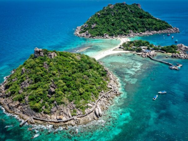 Koh Nang Yuan Island Viewpoint Drone Picture In Koh Tao Thailand