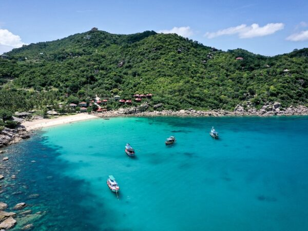 Drone view of Ao Leuk Bay & Beach in Koh Tao Thailand