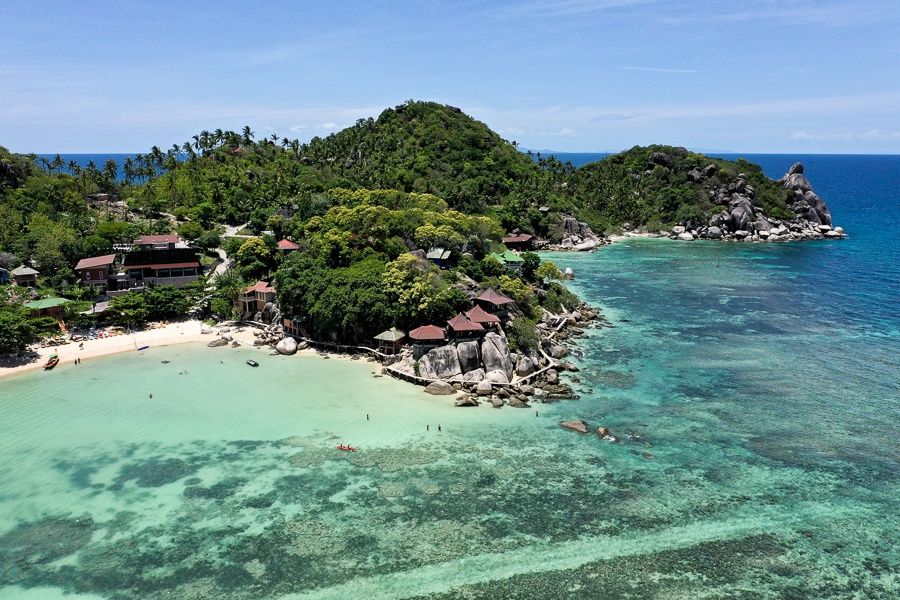 Drone view of Taa Toh Beach & Bay in Koh Tao, Thailand