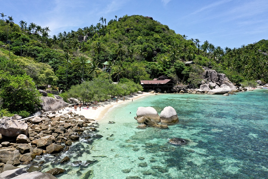 Drone view of Freedom Beach in Koh Tao, Thailand