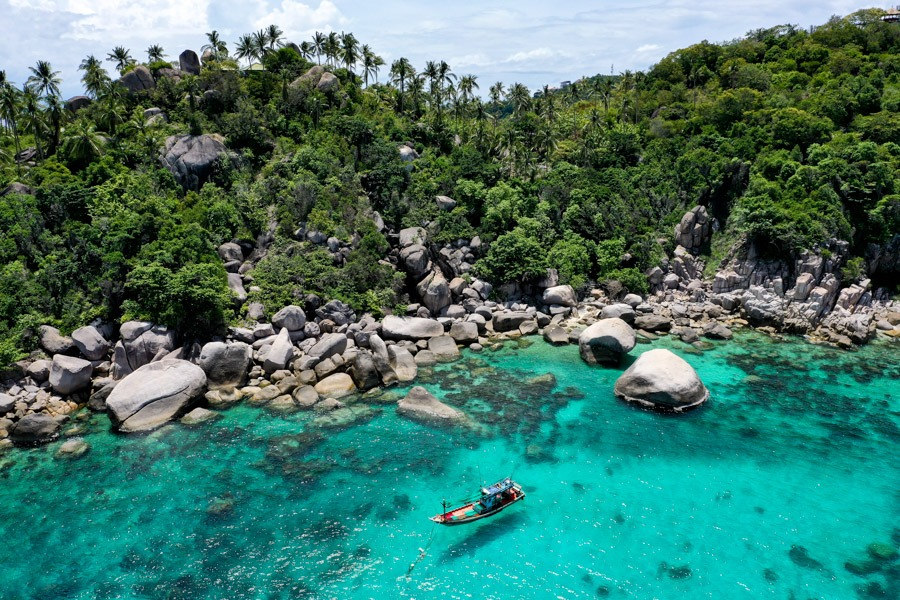 Shark Bay Koh Tao drone picture in Thailand
