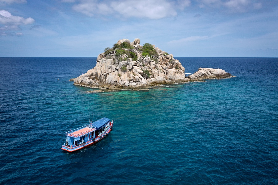 Drone pic of Shark Island in Koh Tao