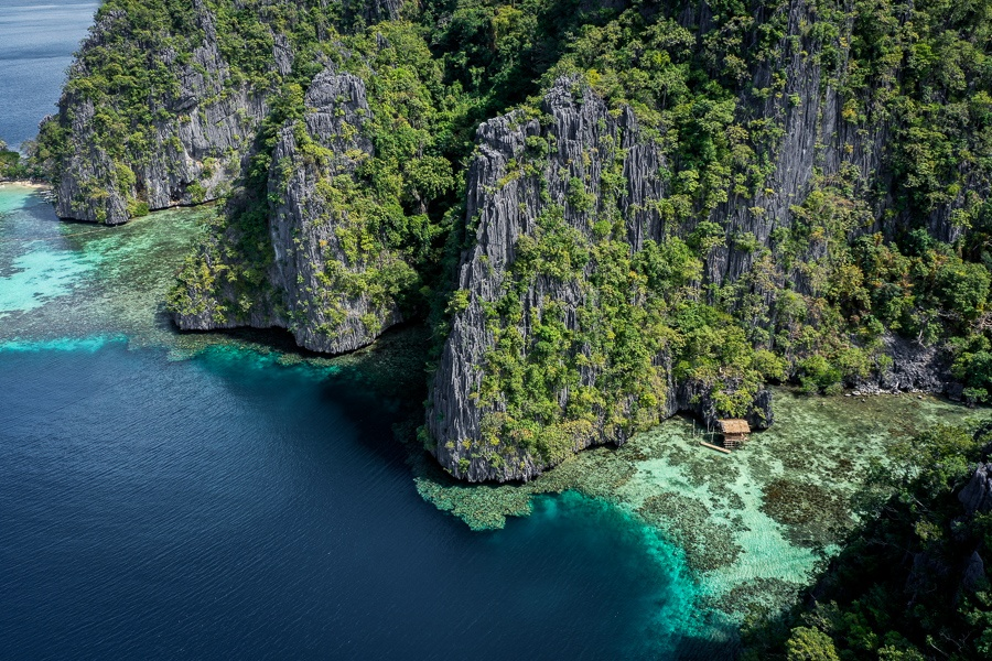 Drone picture of karst mountains in Coron