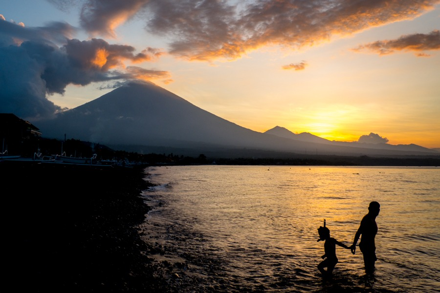 Sunset at Amed Beach in Bali