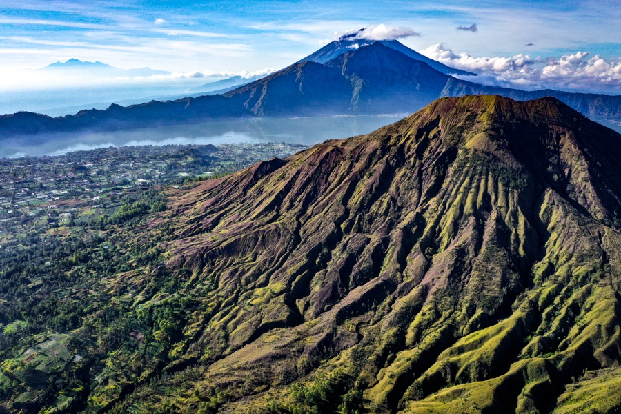 Mount Batur Bali hike drone picture of the volcano in Kintamani