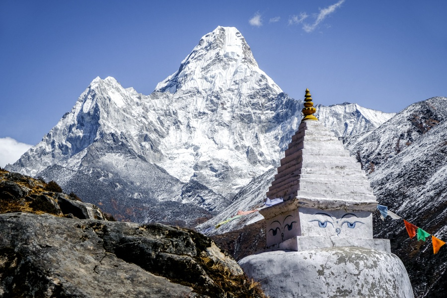 Ama Dablam mountain and stupa on the Everest Base Camp Trek in Nepal