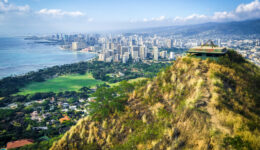 WWII pillbox and Honolulu city view from the top of the Diamond Head lookout in Oahu, Hawaii