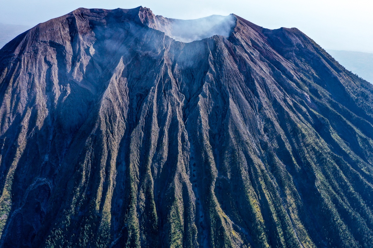 Drone picture of the Mount Agung volcano crater in Bali
