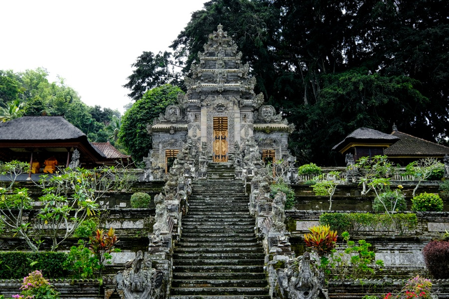 Balinese stone gate and stairway at Pura Kehen Temple in Bangli Bali