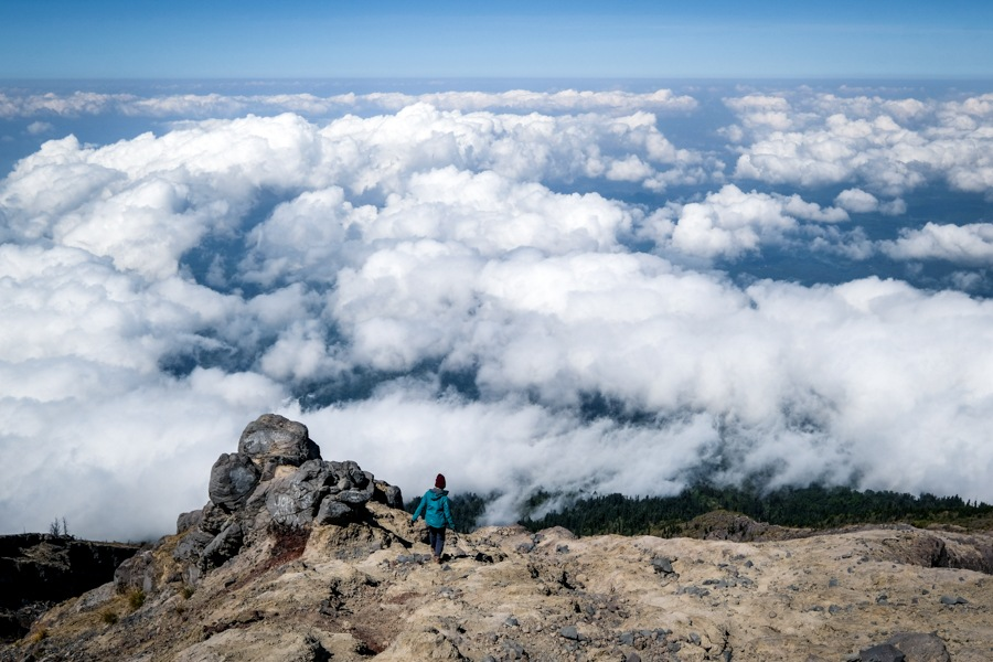 Hiker on the Mount Agung volcano in Bali