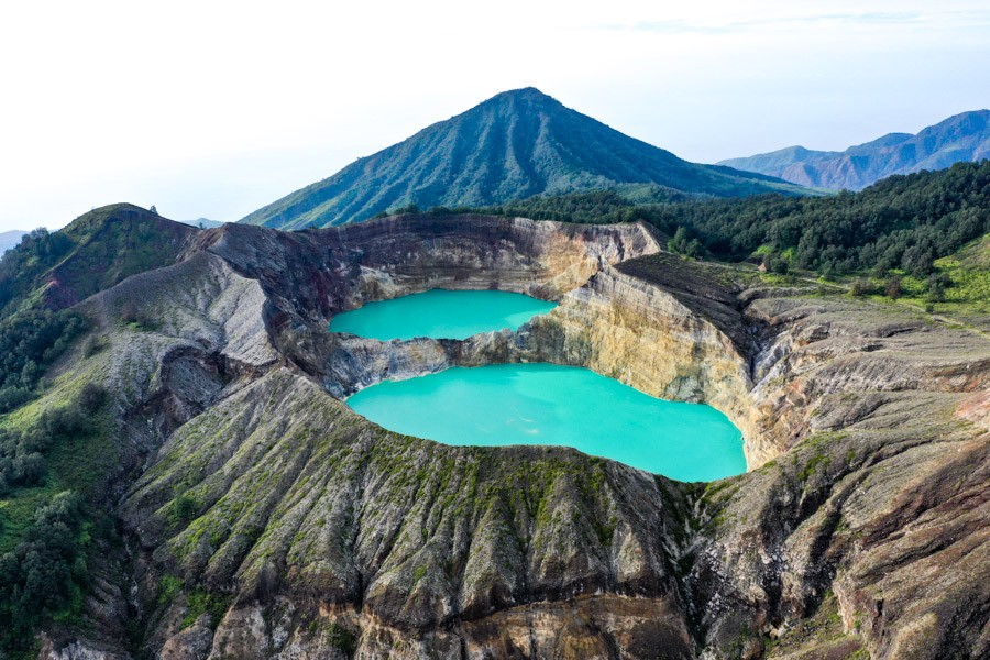 Mount Kelimutu National Park twin lakes drone picture in Flores Indonesia