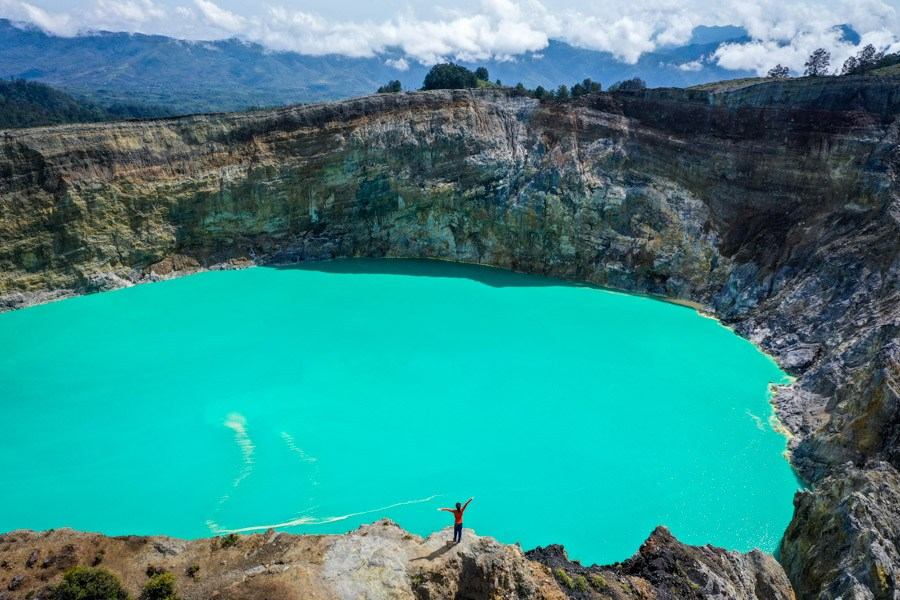 Kelimutu National Park twin lakes drone picture in Flores Indonesia