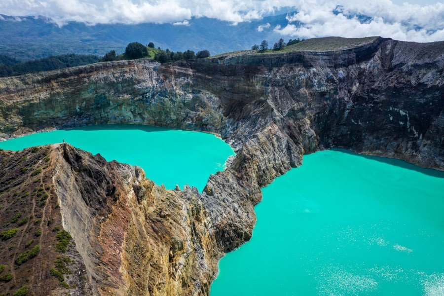 Kelimutu crater drone picture in Flores Indonesia