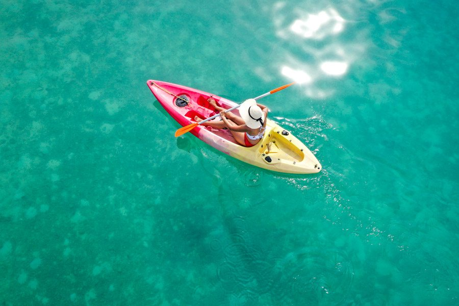 Drone picture kayaking in the Banyak Islands