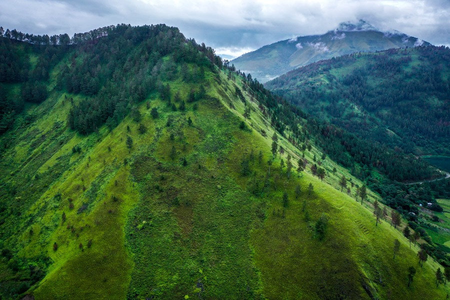 Lake Toba green hills drone picture